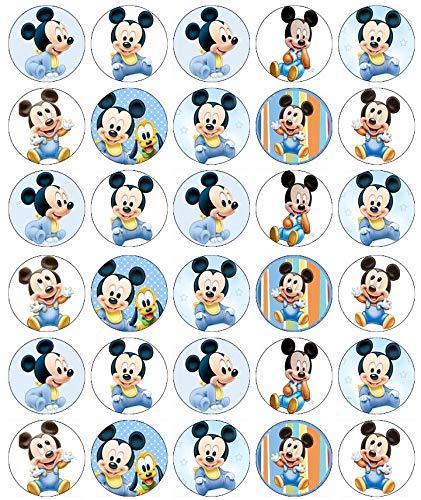 30 obleas comestibles de Mickey Mouse para decoración de pasteles de cumpleaños