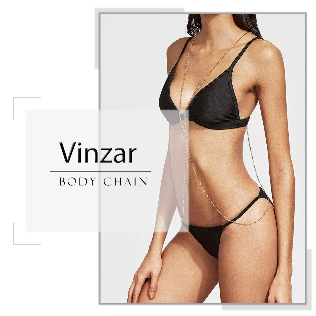 Vinzar Boho Crystal Gold Body Chain Necklace Belly Chain Summer Beach Bikini Chains Body Jewelry Cross Waist Belt Necklaces for Women and Girls