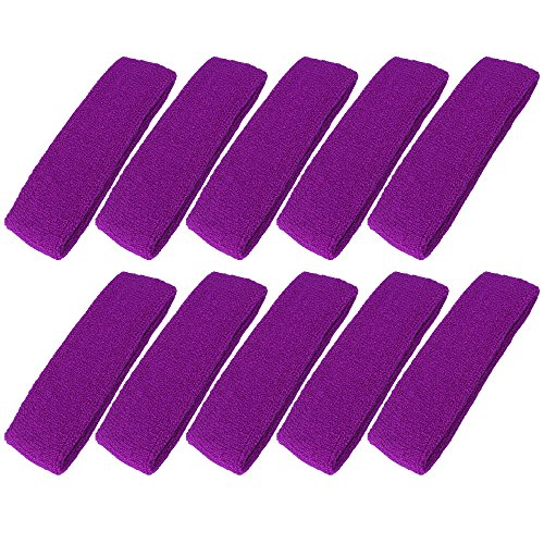 Mallofusa 10 PCS Cotton Sports Basketball Headband/Sweatband Head Sweat Band/Brace Gift Party Outdoor Activities (Purple)]()
