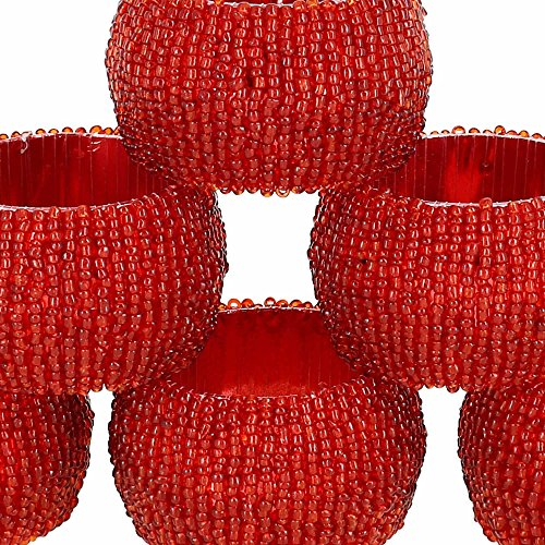 Large Product Image of Set of 6 Red Beaded Table Decoration Napkin Rings - Perfect for Parties by ShalinIndia