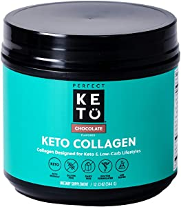 Perfect Keto Collagen Peptides Protein Powder with MCT Oil | Hydrolyzed Collagen, Type I & III Supplement | Non-GMO, Gluten Free, Grassfed, Keto Creamer in Coffee | Shakes for Women & Men – Chocolate