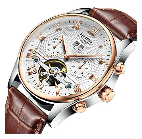 (Men's Self-Wind Tourbillon Mechanical Watches Water Resistant Automatic Skeleton Wristwatches (Silver Gold White Leather)
