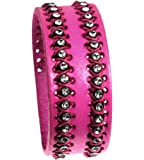 Fuchsia Hot Pink Quality Leather Cuff Bracelet Handsewn with Sparkle Accents