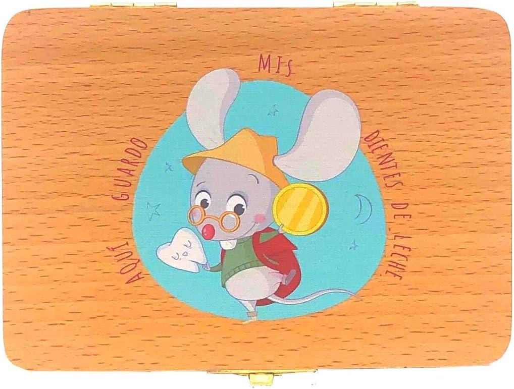 Caja de madera para guardar los dientes de leche el ratoncito Pérez. Versión en español