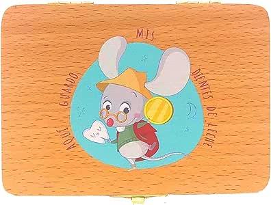 Caja de madera para guardar los dientes de leche el ratoncito Pérez. Versión en español: Amazon.es: Bebé