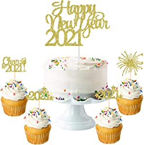 Gold Glittery 2021 Happy New Year Cake Topper- New Years Party Cake Decor,2021 New Years Eve Party Decorations- Farewell to 2020 and welcome to 2021