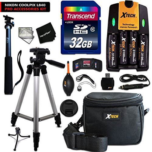 Ultimate Accessory Kit for Nikon Coolpix L840 Digital Camera Includes: 4 AA Rechargeable Batteries w/ Quick AC/DC Charger + 32GB High Speed Memory Card + Padded Case + Full Size 60 Inch Tripod + MORE