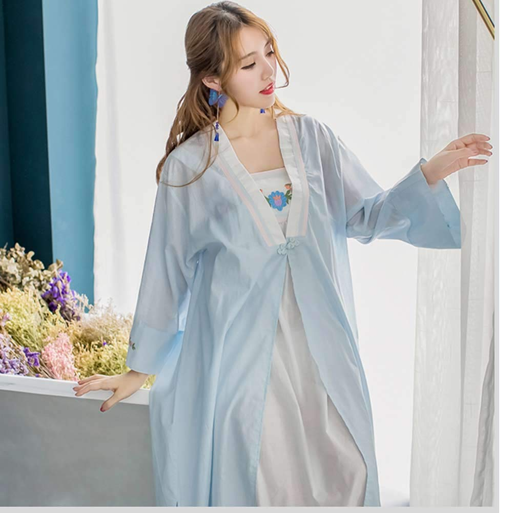 4e81cb85d7 Womens  Vintage 2 pcs Embroidery Wedding Nightgown Floral Sleepwear Girls Victorian  Nightdress PJS Lounger Robe Nightwear (Blue) at Amazon Women s Clothing ...