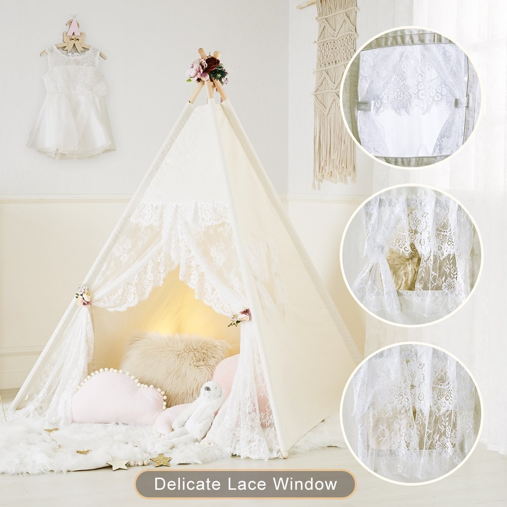 Little Dove Floral Classic Ivory Kids Teepee Kids Play Tent Childrens Play House Tipi Kids Room Decor by little dove (Image #1)