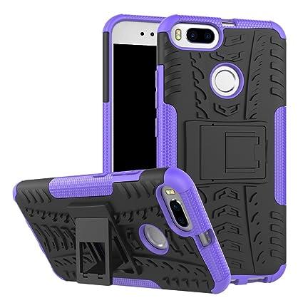 Funda Xiaomi Mi A1, Carcasa Protectora Antigolpes Armadura Doble Capas a Prueba de Choques Caída Protección Robusto Case con Soporte Color Violeta