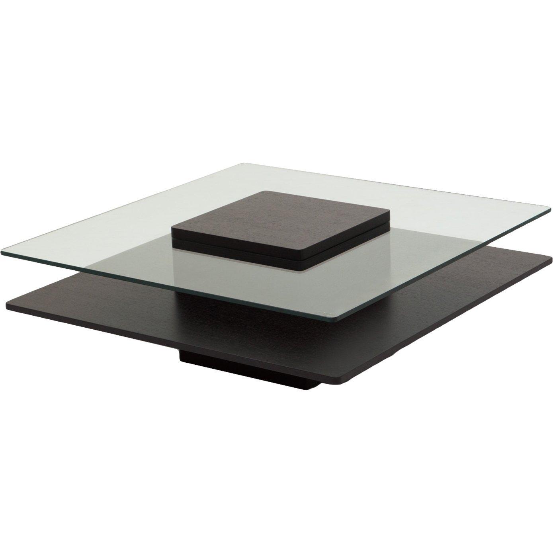 独創的な今までにないスタイル 宙に浮いたようなガラスと天然木のコラボレーション ずっと見続けたくなる洗練されたリビングテーブル 100cm ブラック B010SNIVEU ブラック