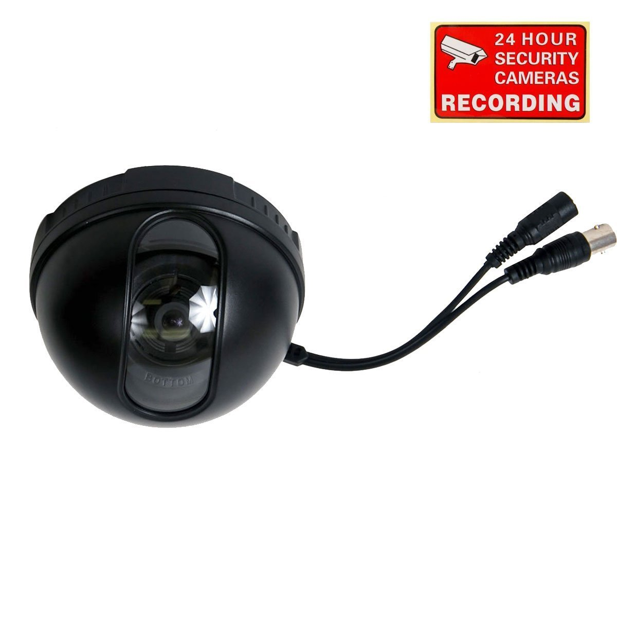 VideoSecu Color CCD Dome Security Camera DSP 3.6mm Wide Angle Lens for CCTV DVR Home Surveillance System with Bonus Warning Decal DM35B 1P9