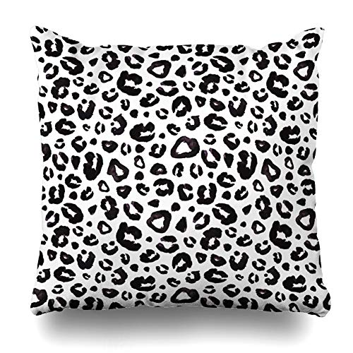 Ahawoso Decorative Throw Pillow Cover Natural Gray Africa Snow Leopard Black White Abstract Watercolor Camouflage Cat Cheetah Curve Design Zippered Design 20