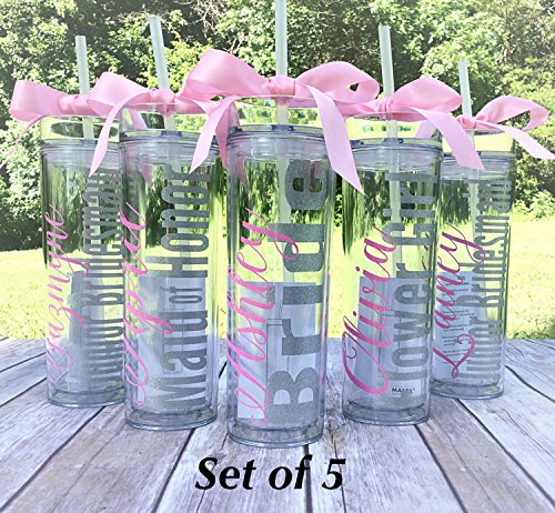 5 Bridesmaid tumbler gift bridal party acrylic cups with lids