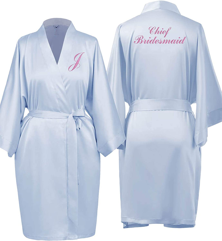 Sioro Custom Silk Satin Dressing Gown For Women Personalized Embroidered Kimono Robes Bride Bridesmaid Bathrobes Amazon Co Uk Clothing