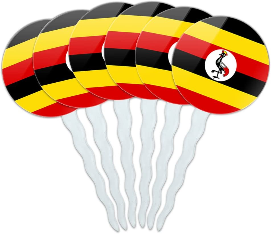 Set of 6 Cupcake Picks Toppers Decoration Country National Flag T-Z - Uganda National Country Flag