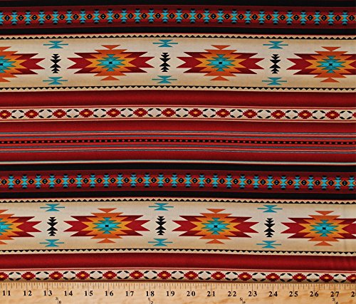 Cotton Southwestern Stripes Indian Native American Southwest Tribal Red Gold Turquoise Tucson Stripes Terracotta Cotton Fabric Print by the Yard - Indian Tucson Store