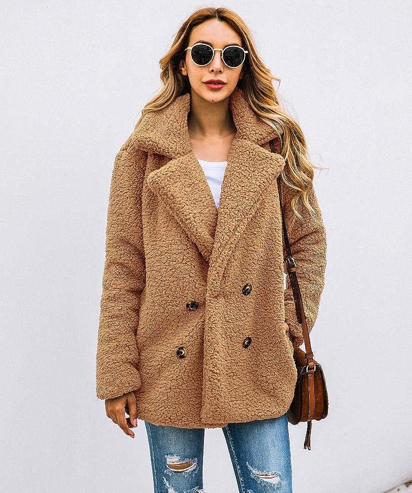 kiss me Women Coat Casual Lapel Fleece Fuzzy Faux Coats Warm Winter Oversized Outwear Jackets