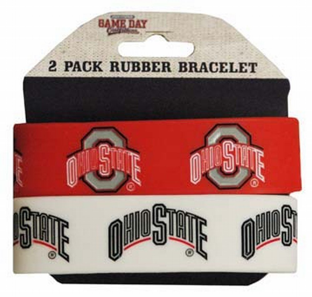 Team Color NCAA Ohio State Buckeyes Wide Band Silicone Bracelet Pack of 2