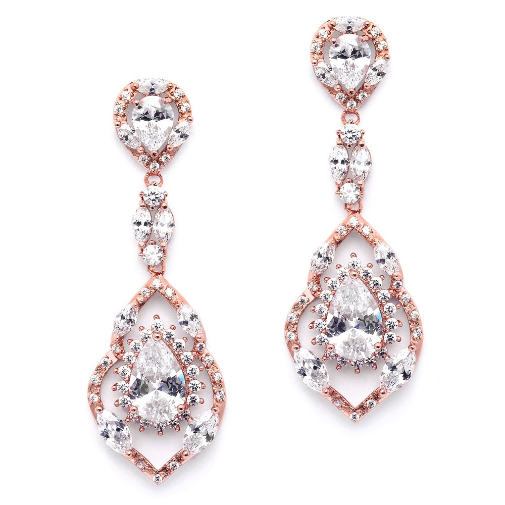 Mariell Gorgeous 14K Rose Gold Plated CZ Chandelier Dangle Wedding Earrings - Blush Bridal & Prom Jewelry by Mariell