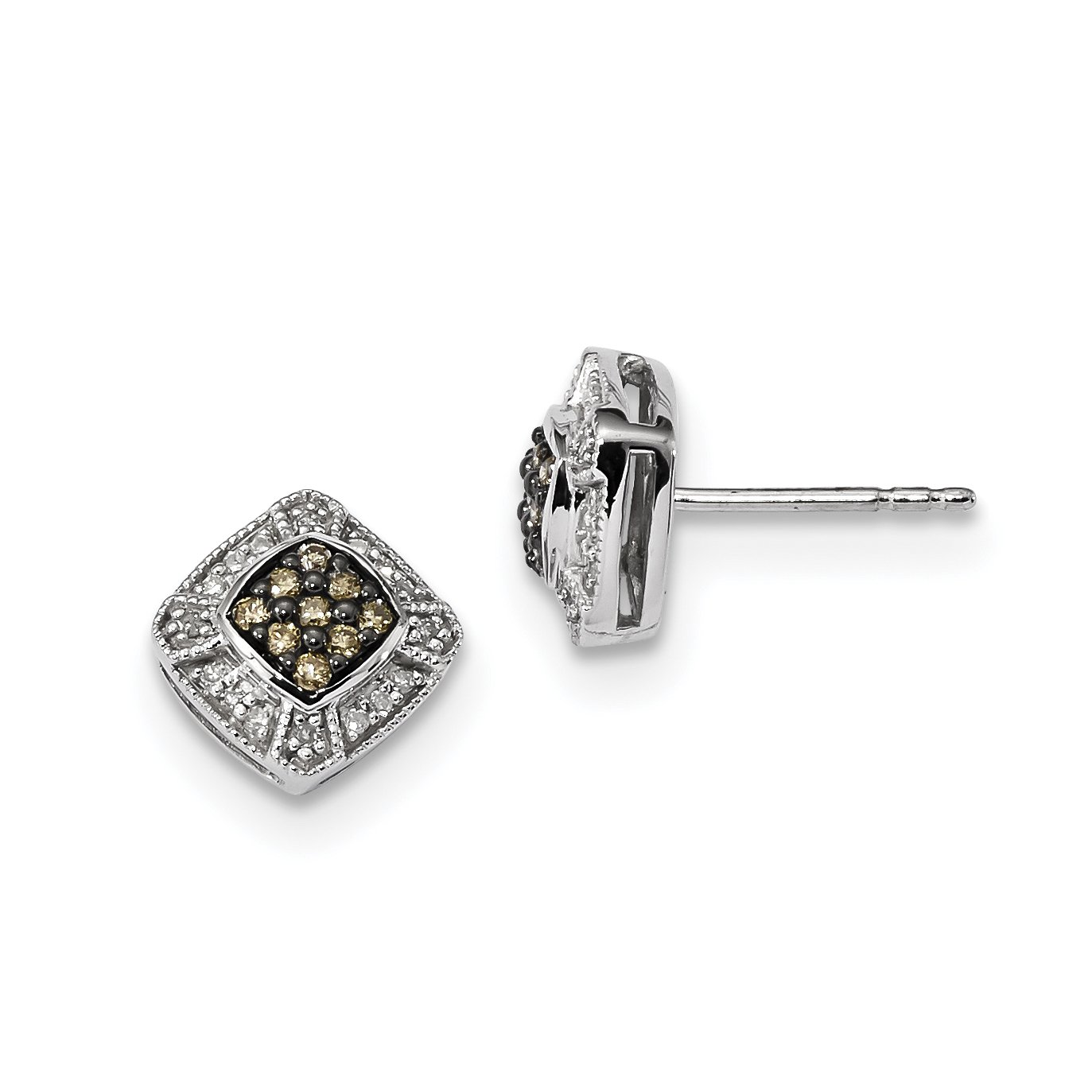 ICE CARATS 925 Sterling Silver Champagne Diamond Small Square Post Stud Ball Button Earrings Fine Jewelry Gift Set For Women Heart