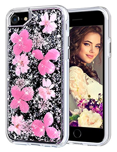 Coolden Case for iPhone 8 Case iPhone 7 Glitter Case with Dried Flower Cute Girly Durable Shockproof 2 Layers Solid PC TPU Cover Case for iPhone 6 6s 7 8, Pink Flower