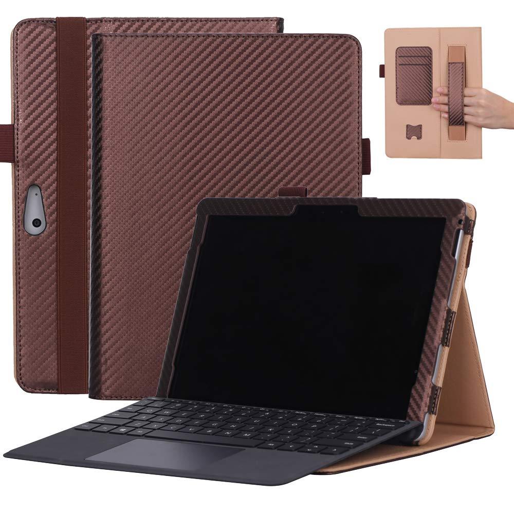 Microsoft Surface Goケース 高級本革ケース スタンド付き フリップカバー ハンドメイド Microsoft Surface Go用 (コーヒー)   B07LCGLBMR
