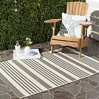 "Safavieh Courtyard Collection CY6062-236 Grey and Bone Indoor/ Outdoor Square Area Rug (53"" Square)"