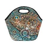 InterestPrint Steampunk Nautical Panel Fish Reusable Insulated Neoprene Lunch Tote Bag Cooler 11.93'' x 11.22'' x 6.69'', Unique Sealife Portable Lunchbox Handbag for Men Women Adult Kids