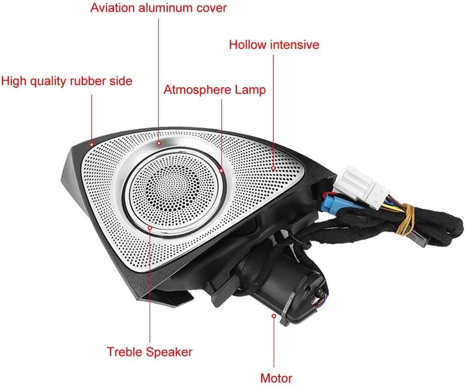 Gorgeri Car Tweeter Audio Speaker,3D Rotating Treble Speaker Audio Fit for with Atmosphere Lamp Gradient 64-Color