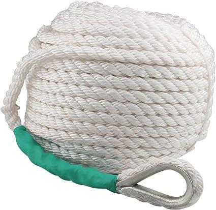 "Twisted Anchor Rope 1//2/""x200/' Feet Three Strand Nylon Braided Boat Line Dockline"