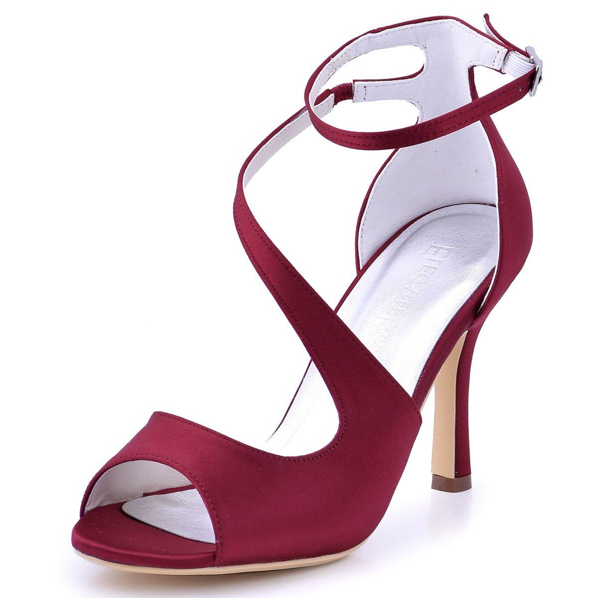 ElegantPark Satin HP1505 Sandales Escarpins Femme Bout Bal Ouvert Diamant Btide Cheville Boucle Sandales Chaussures de mariee Bal Satin Burgundy 56a4c04 - boatplans.space