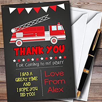 Fire Truck Chalk Style Personalized Childrens Birthday Party Thank You Cards