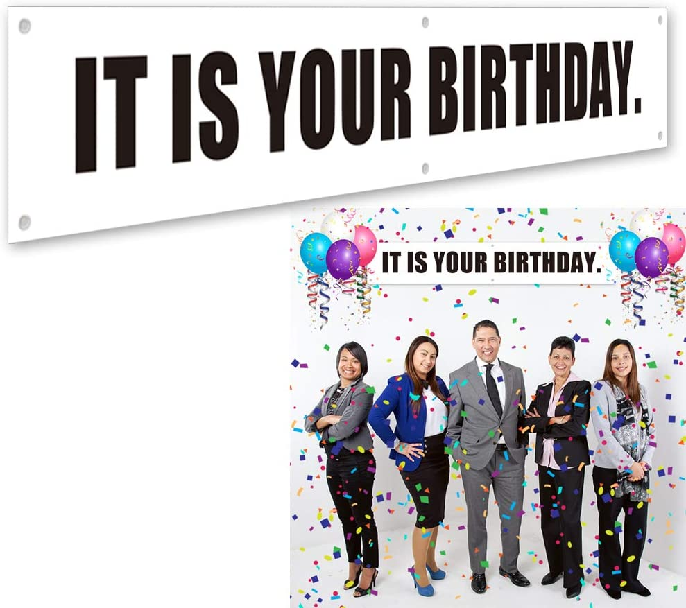 Ushinemi It is Your Birthday. Banner, The Office Birthday Party Decorations Banner Sign, 6x1 Feet