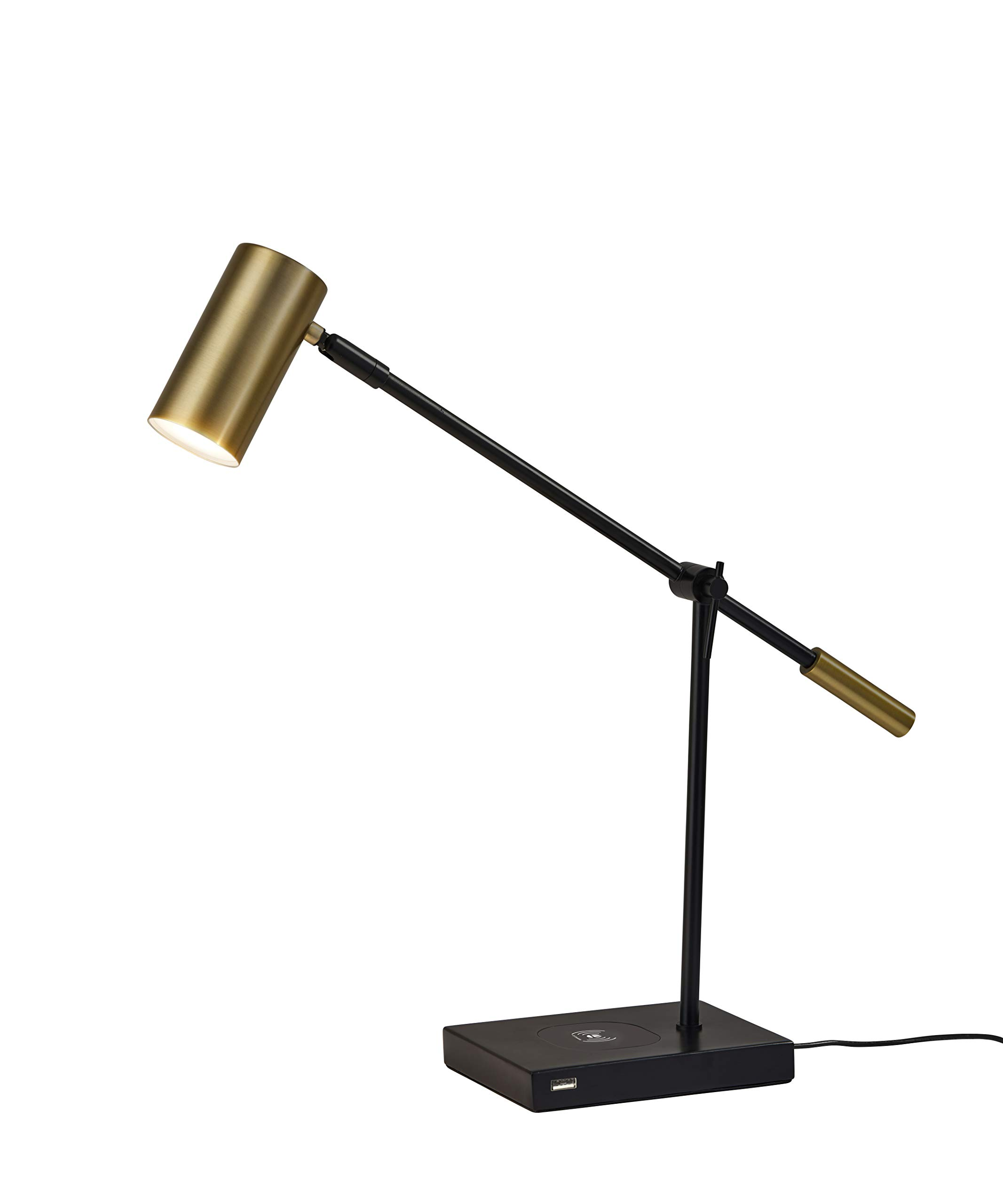 Adesso 4217-01 ColletteLED Desk Lamp WirelessCharging, 7W LED, 5W QI,USB Port, Indoor Lighting Lamps by Adesso