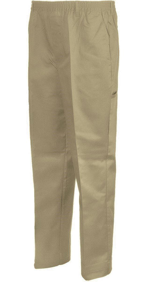 Benefit Wear Mens Full Elastic Waist 5-Pocket Pants with Mock Fly (2X, Khaki)
