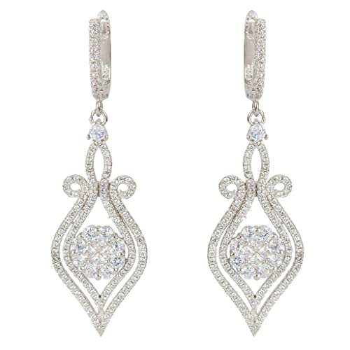 f24d4704914 Image Unavailable. Image not available for. Color  EVER FAITH Silver-Tone  Zircon Elegant Flower Vase Shape Tear Drop Pierced Dangle Earrings Clear