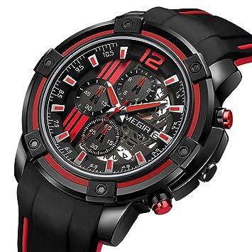 SW Watches Megir Relojes Deportivos De Cuarzo para Hombre Reloj Militar De Cronógrafo Militar para Hombre Reloj Luminoso 2097 Negro Rojo: Amazon.es: ...