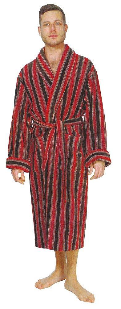 Bown of London Men's Luxury Velour Dressing Gown, Ely, Red & Black Bold Stripe