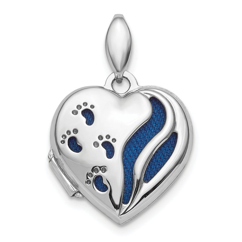 FB Jewels Solid Sterling Silver RhodiumPlated Polished Foot Prints Heart Locket
