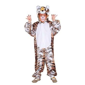 NET TOYS Tigerkostüm Kind Tiger Overall 116/128, 5 - 7 Jahre Wildkatze Kinderkostüm Raubkatze Kostüm