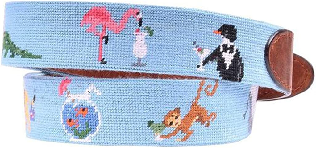 Party Animals Needlepoint D-Ring Belt in Light Blue by Smathers /& Branson