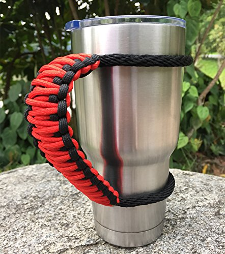 MOCE Handmade Paracord Handle for 30 oz. Tumbler, Red/Black