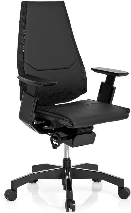 hjh OFFICE 652851 Profi Bürostuhl GENIDIA BLACK Leder Schwarz Chefsessel ergonomisch, Rückenlehne höhenverstellbar