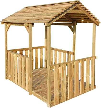 tidyard Casa de Verano para Niños,Casa de Juegos de Jardín,Carpa de Jardín, Casa de Madera,Madera de Pino 122,5x160x163cm: Amazon.es: Hogar