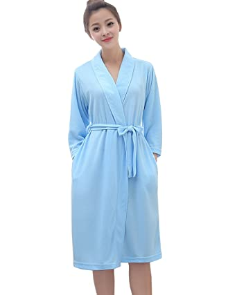 Women Long Sleeves Thin Bathrobe Knee Length Waist Belted Hotel Spa Robe(Blue 29af4ae8c