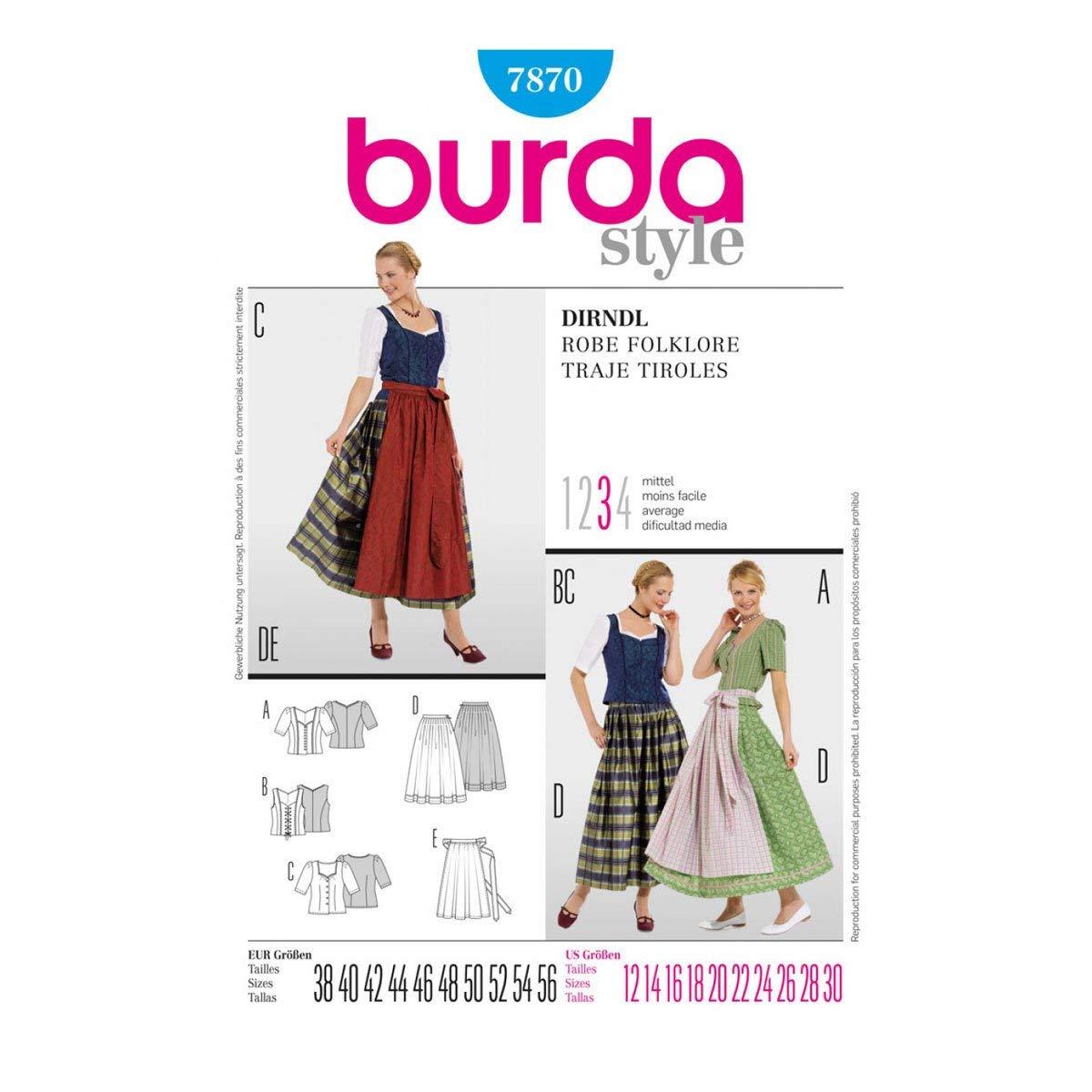 Amazon.com: Burda patrón de costura vestido Dirndl Robe ...