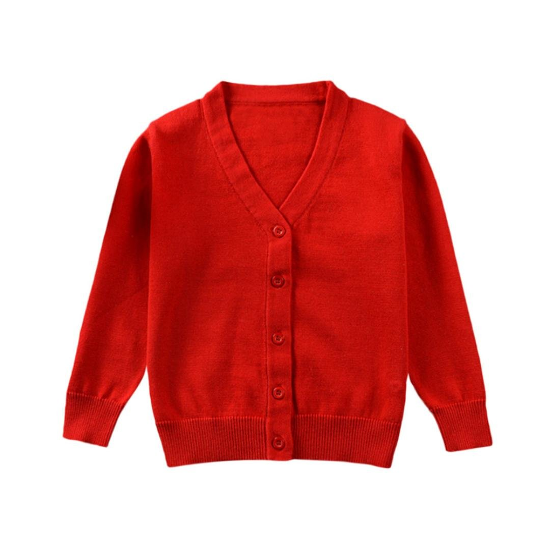 Lavany Kids Boys Girls Knitted Coat Toddler Cardigan Sweater In Pure Color