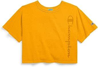 Champion Life Womens WL505G Cropped Tee - Garment Dyed Short Sleeve T-Shirt - Blue