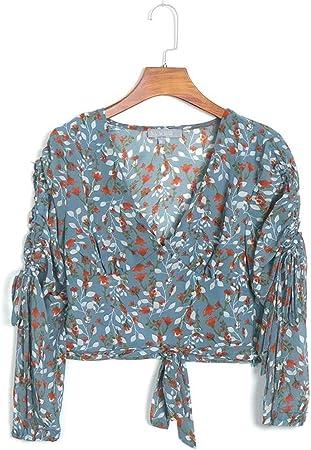 Camisa Casual Floral Boho Casual Blusa Mujeres Blusa Francesa Camisas Tops Sexy Ladies Chiffon Bow Wrap Blusa Camisa (Color : Blue, Size : L): Amazon.es: Hogar